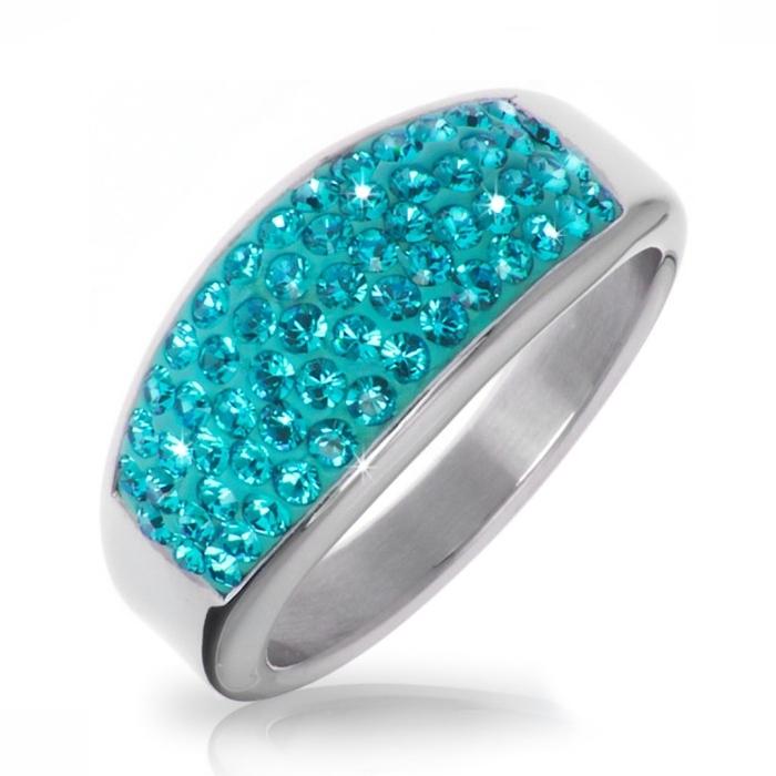 Oceľový prsteň s kryštálmi Crystals from Swarovski ®, BLUE ZIRCON