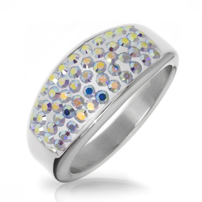 Oceľový prsteň s kryštálmi Crystals from Swarovski ®, AB