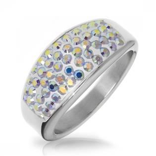 AKTUAL, s.r.o. Ocelový prsten s krystaly Crystals from Swarovski®, AB - velikost 53 - LV1010-AB-53