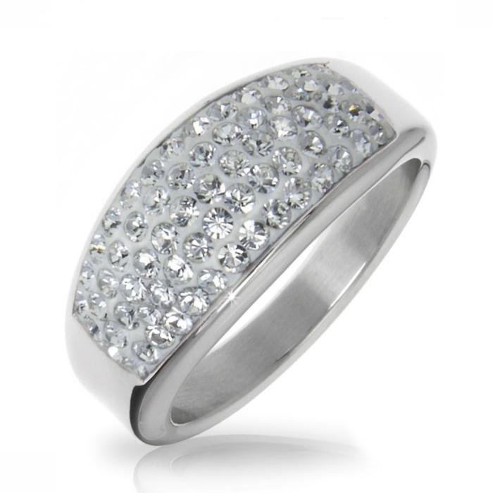 Oceľový prsteň s kryštálmi Crystals from Swarovski ®, CRYSTAL
