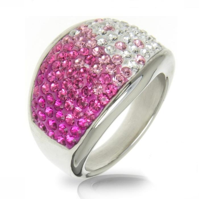 Oceľový prsteň s kryštálmi Crystals from Swarovski ®, ROSE