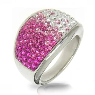 Ocelový prsten s krystaly Crystals from Swarovski®, ROSE LV1020-RO