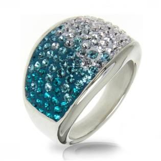 AKTUAL, s.r.o. Ocelový prsten s krystaly Crystals from Swarovski®, BLUE ZIRCON - velikost 53 - LV1020-BZ-53