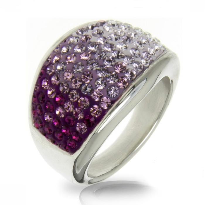 Oceľový prsteň s kryštálmi Crystals from Swarovski ®, AMETHYST