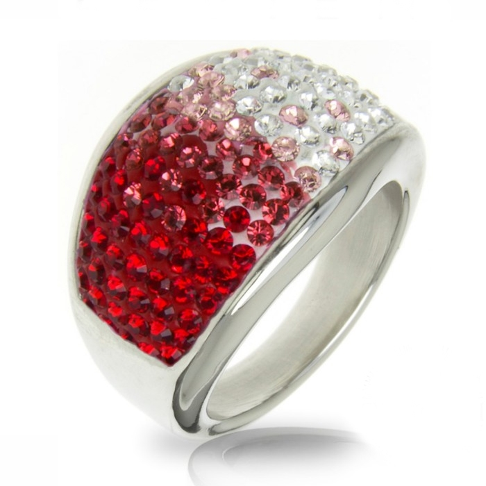 Oceľový prsteň s kryštálmi Crystals from Swarovski ®, RED