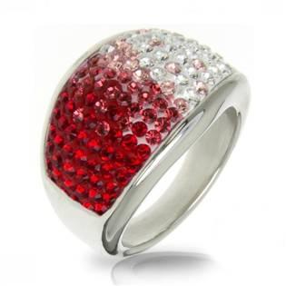 Ocelový prsten s krystaly Crystals from Swarovski®, RED LV1020-RD