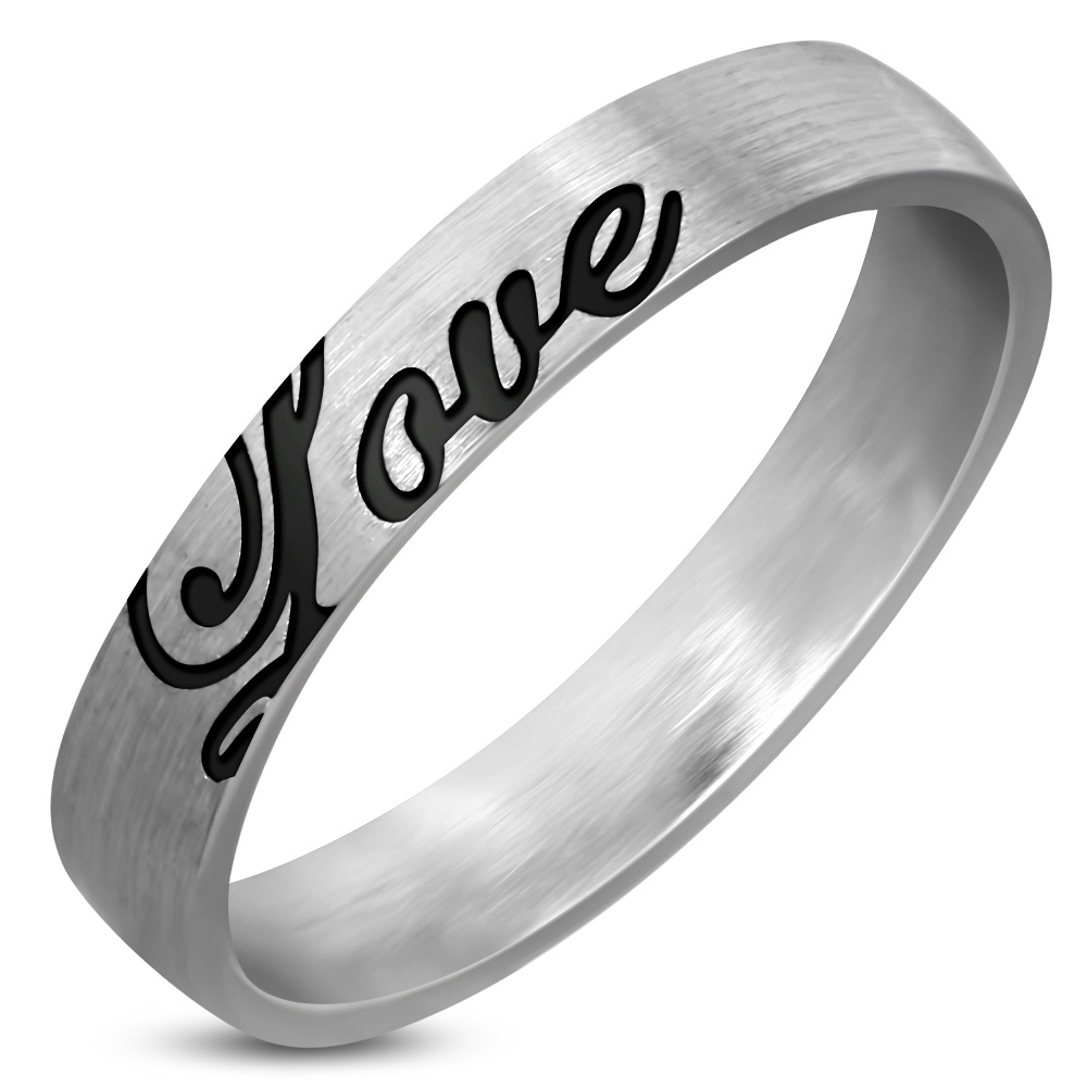 Matný oceľový snubný prsteň Love, šírka 4 mm, veľ. 57