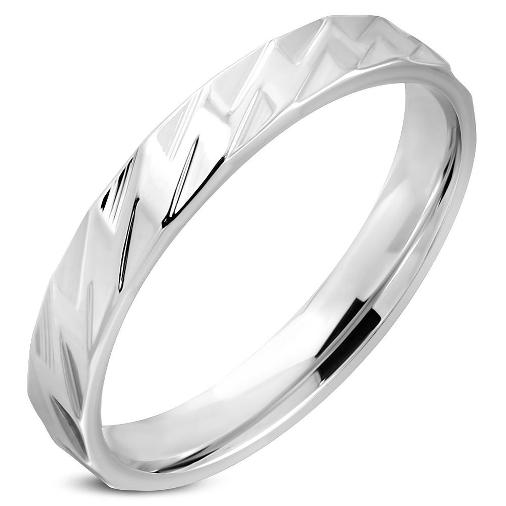 Oceľový snubný prsteň, šírka 4 mm, veľ. 52