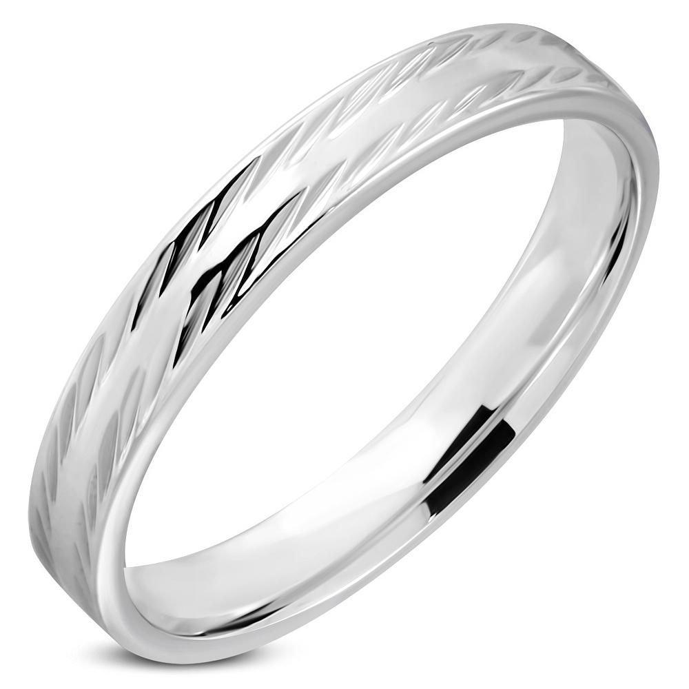Oceľový snubný prsteň, šírka 4 mm, veľ. 64