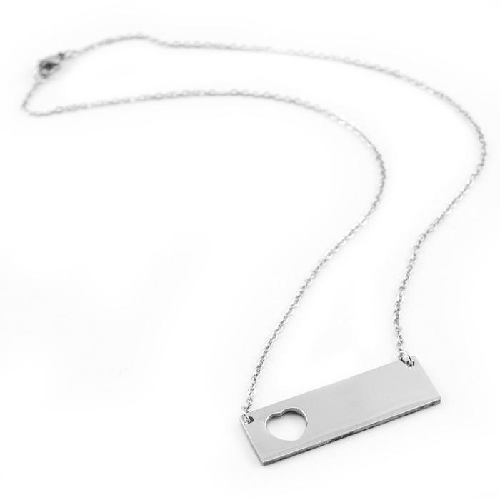Oceľový náhrdelník, doštička sa srdiečkom