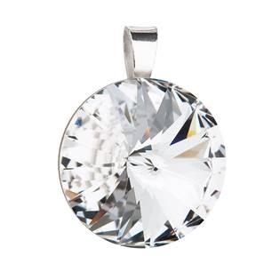 Stříbrný kulatý přívěšek rivoli Crystals from Swarovski® Crystal