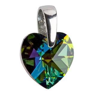 Stříbrný přívěšek srdce Crystals from Swarovski® Green