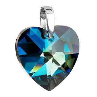Stříbrný přívěšek srdce Crystals from Swarovski® Bermuda Blue