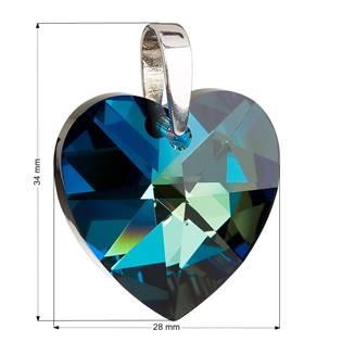 Stříbrný přívěšek srdce Crystals from Swarovski®Bermuda Blue