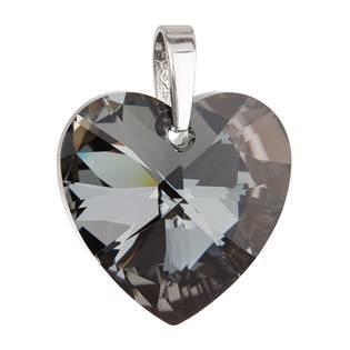 Stříbrný přívěšek srdce Crystals from Swarovski® Silver Night