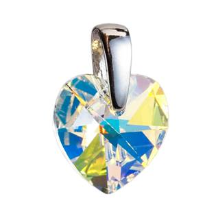 Stříbrný přívěšek srdce Crystals from Swarovski® AB 14 mm