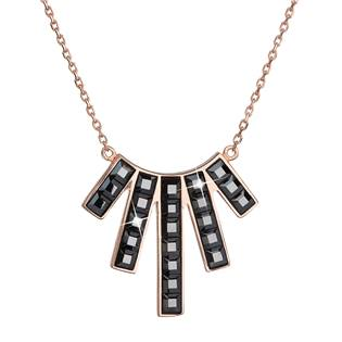 Zlacený stříbrný náhrdelník s krystaly Crystals from Swarovski® Black