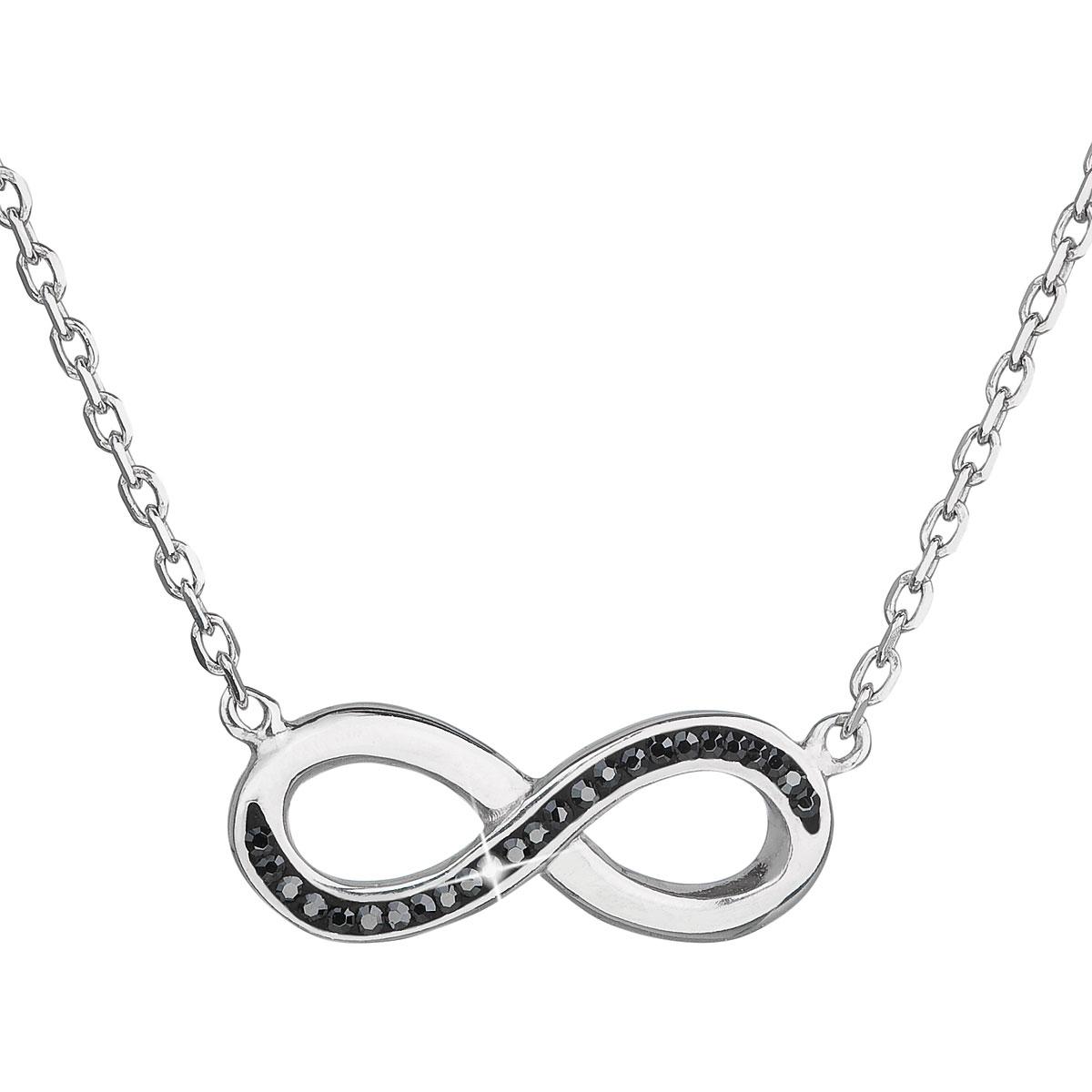 Strieborný náhrdelník nekonečno s kryštálmi Crystals from Swarovski ® Black
