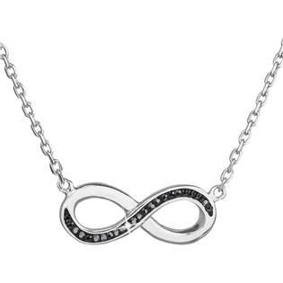 Stříbrný náhrdelník nekonečno s krystaly Crystals from Swarovski® Black