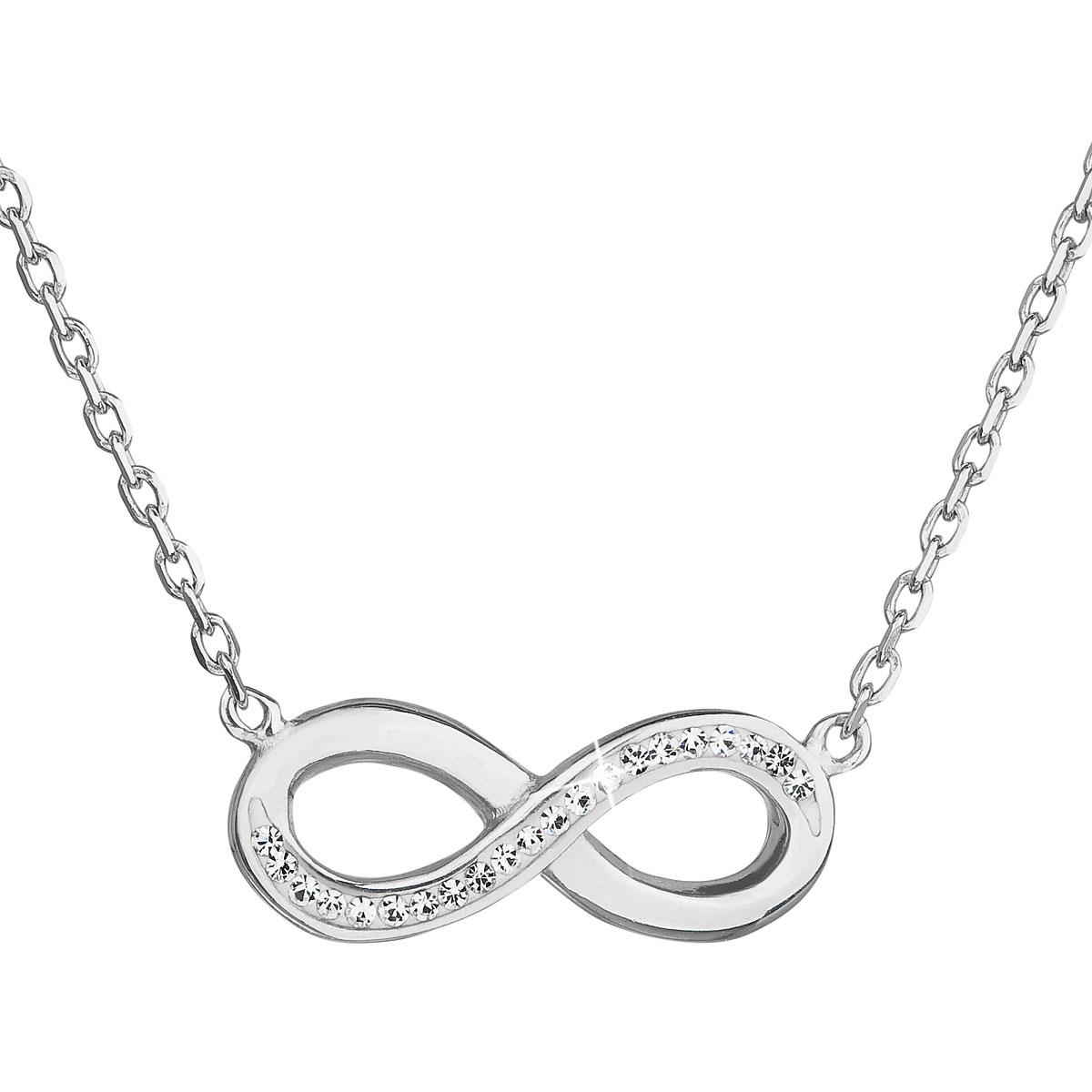 Strieborný náhrdelník nekonečno s kryštálmi Crystals from Swarovski ® Crystal