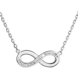 Stříbrný náhrdelník nekonečno s krystaly Crystals from Swarovski® Crystal