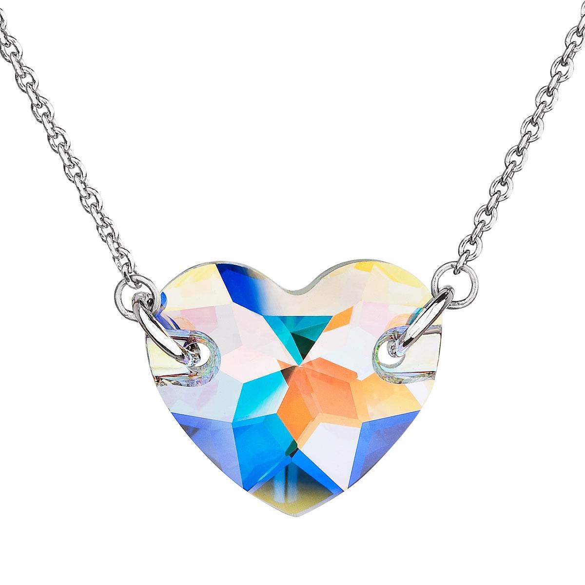 Strieborný náhrdelník srdce Crystals from Swarovski ® AB