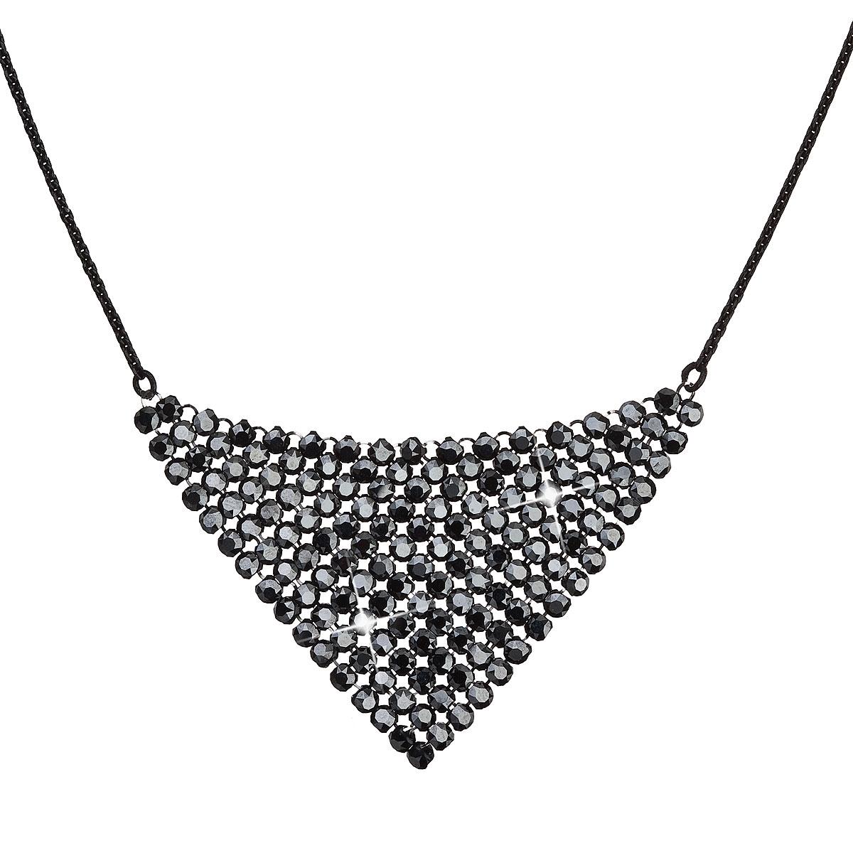 Strieborný náhrdelník s kryštálmi Crystals from Swarovski ® Black