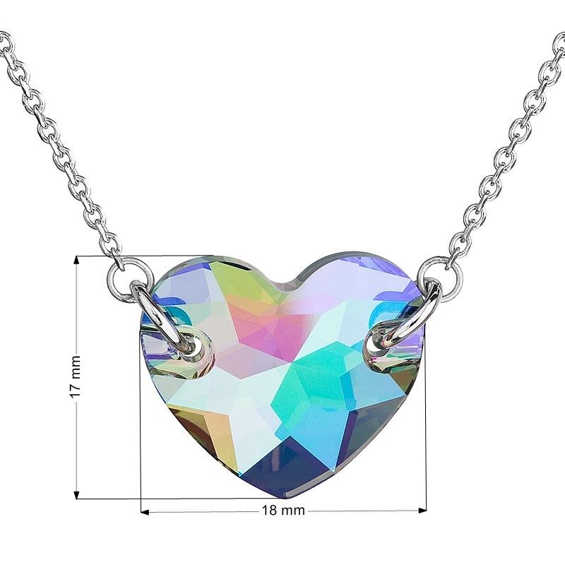 Strieborný náhrdelník srdce Crystals from Swarovski ® zelenofialový