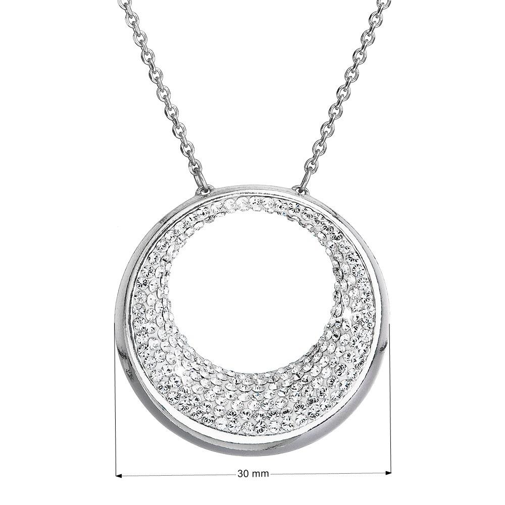 Strieborný náhrdelník kruh s kryštálmi Crystals from Swarovski ®