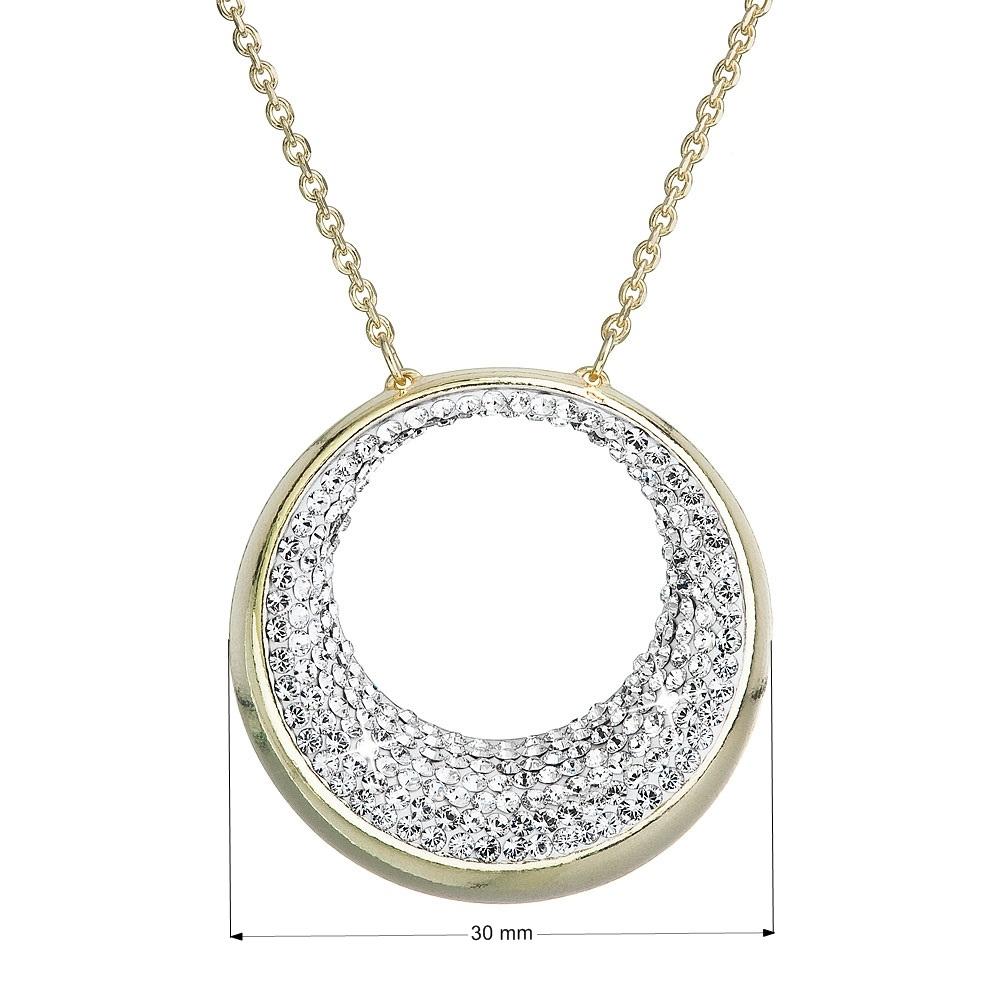 Pozlátený strieborný náhrdelník kruh s kryštálmi Crystals from Swarovski ® Crystal