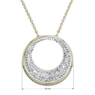 Zlacený stříbrný náhrdelník kruh s krystaly Crystals from Swarovski® Crystal