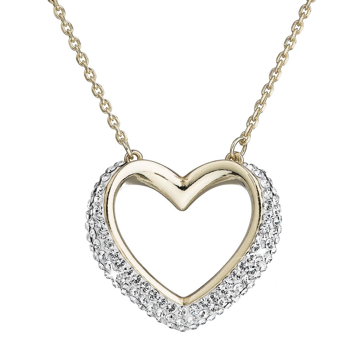 Strieborný náhrdelník s kryštálmi Swarovski biele srdce kryštál gold