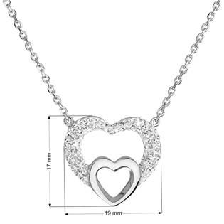 Stříbrný náhrdelník se srdíčky - Crystals from Swarovski®