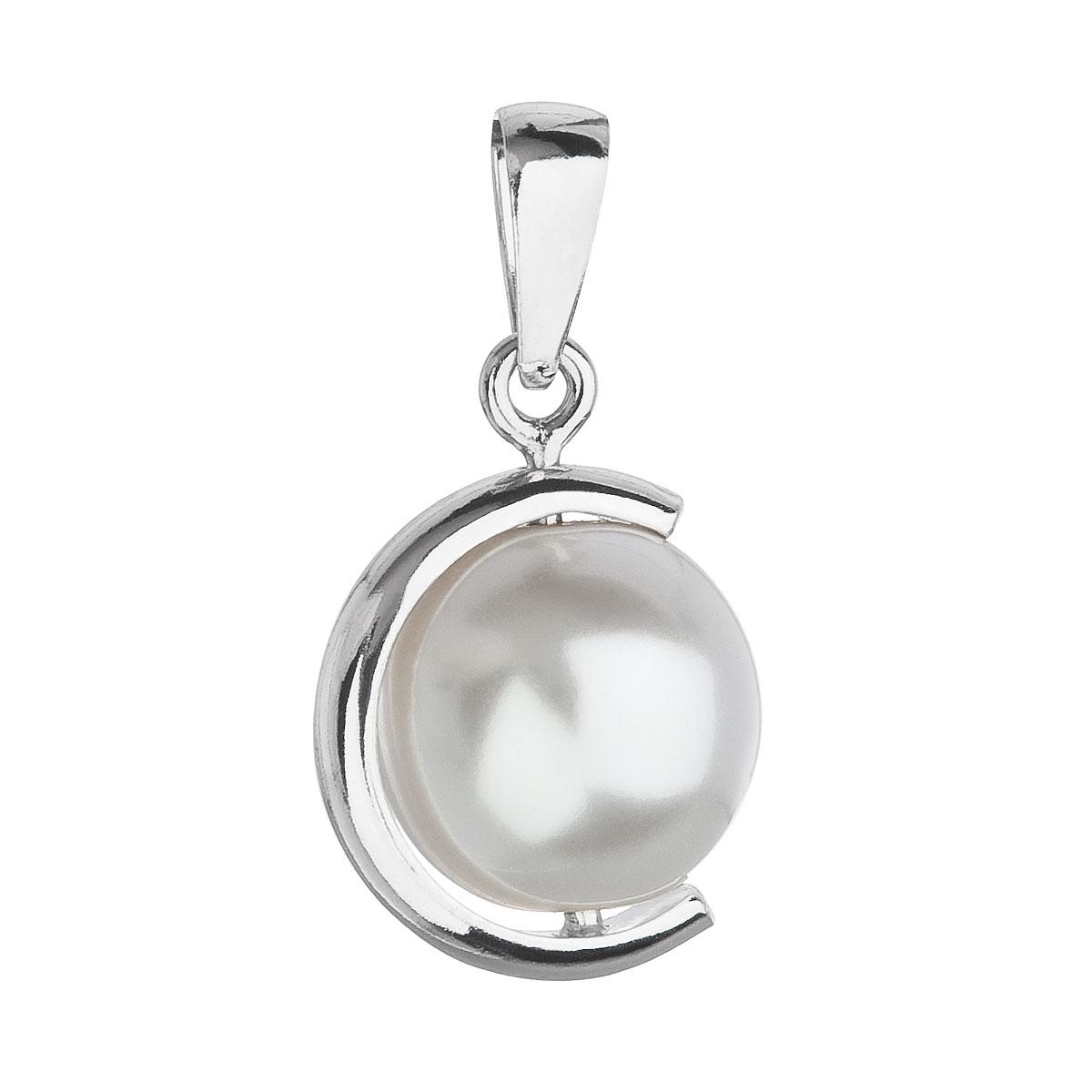 Strieborný prívesok polmesiac a perlou Crystals from Swarovski ®