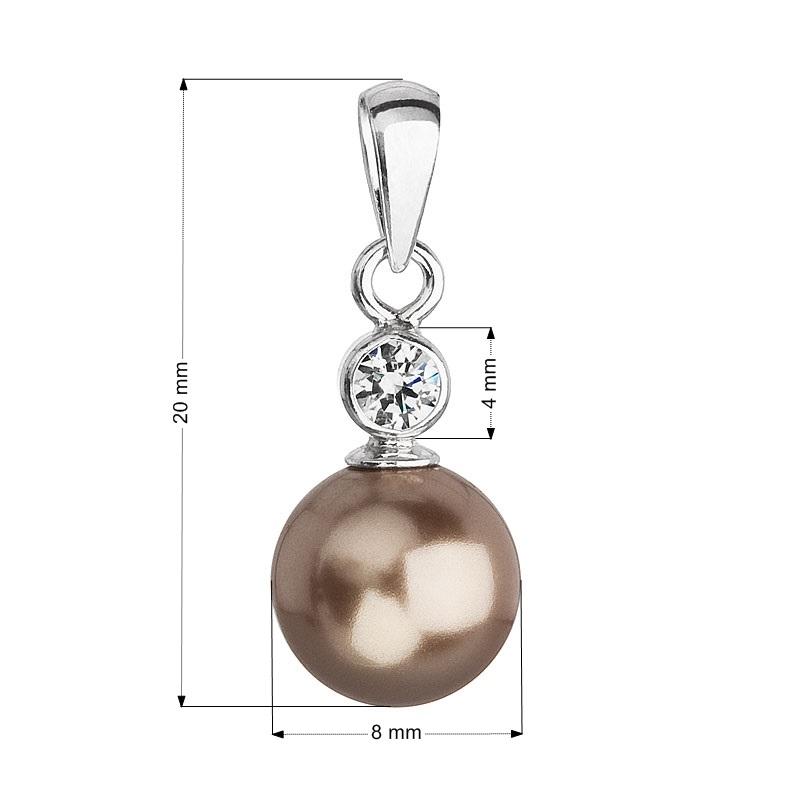 Strieborný prívesok s hnedou perlou Crystals from Swarovski ®
