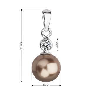 Stříbrný přívěšek s hnědou perlou Crystals from Swarovski®