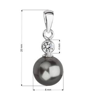 Stříbrný přívěšek se šedou perlou Crystals from Swarovski®