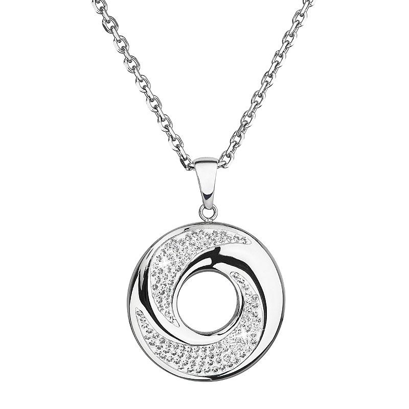 Oceľový náhrdelník s príveskom a kryštálmi Crystals from Swarovski ®