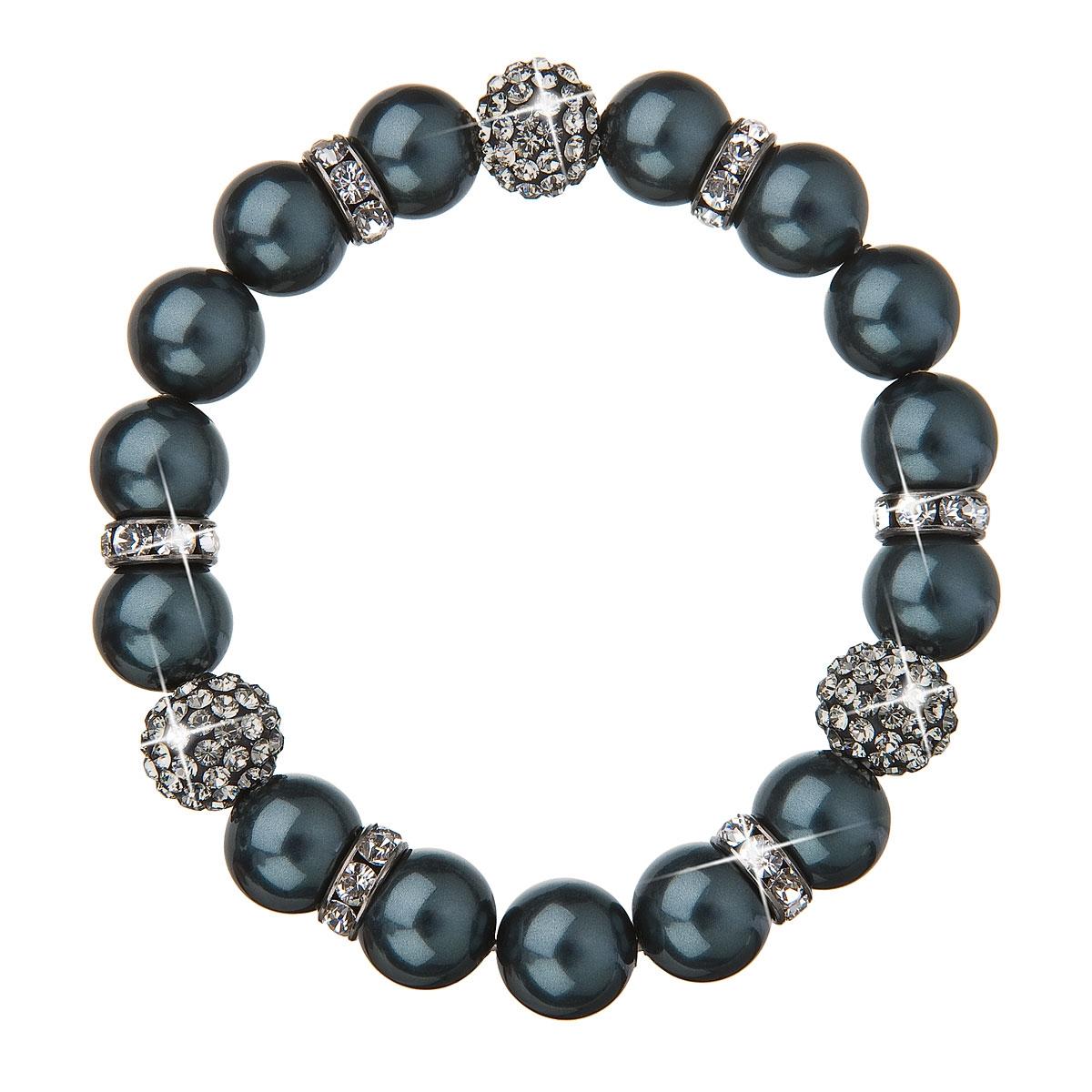 Perlový náramek tmavě zelené perly Crystals from Swarovski®