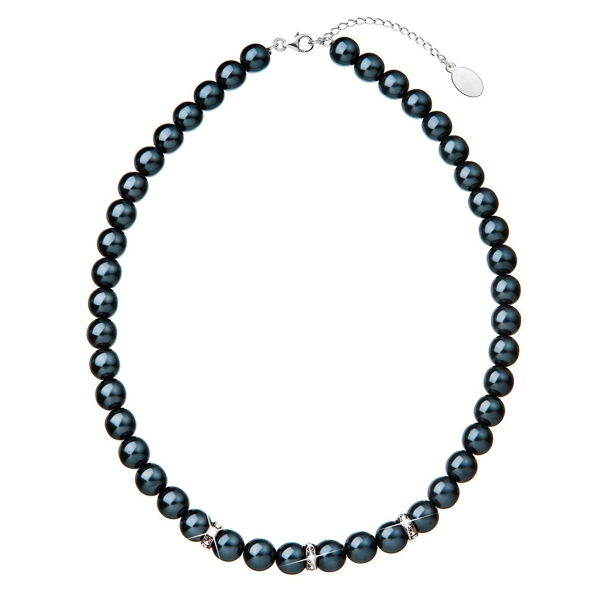 Tmavý perlový náhrdelník Crystals from Swarovski® EG4035