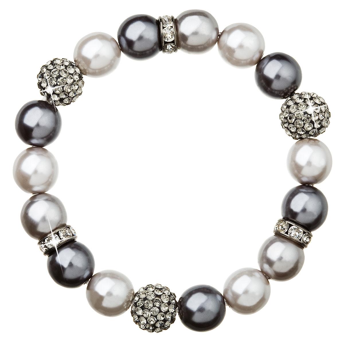 Perlový náramek šedé perly Crystals from Swarovski®