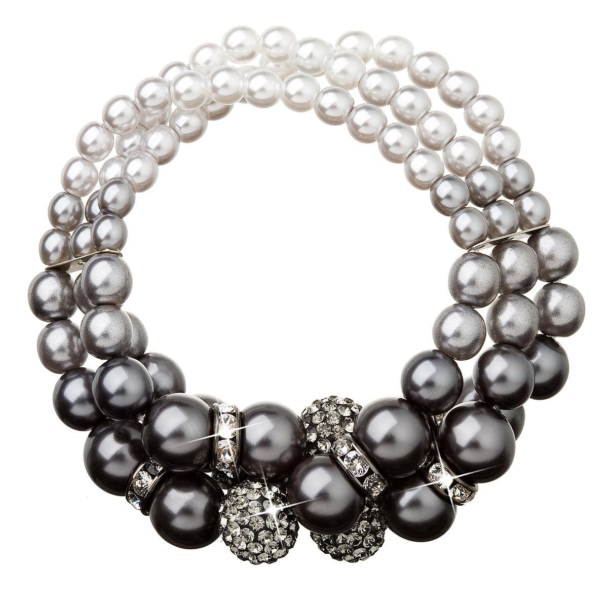 Trojitý perlový náramek šedé perly Crystals from Swarovski®