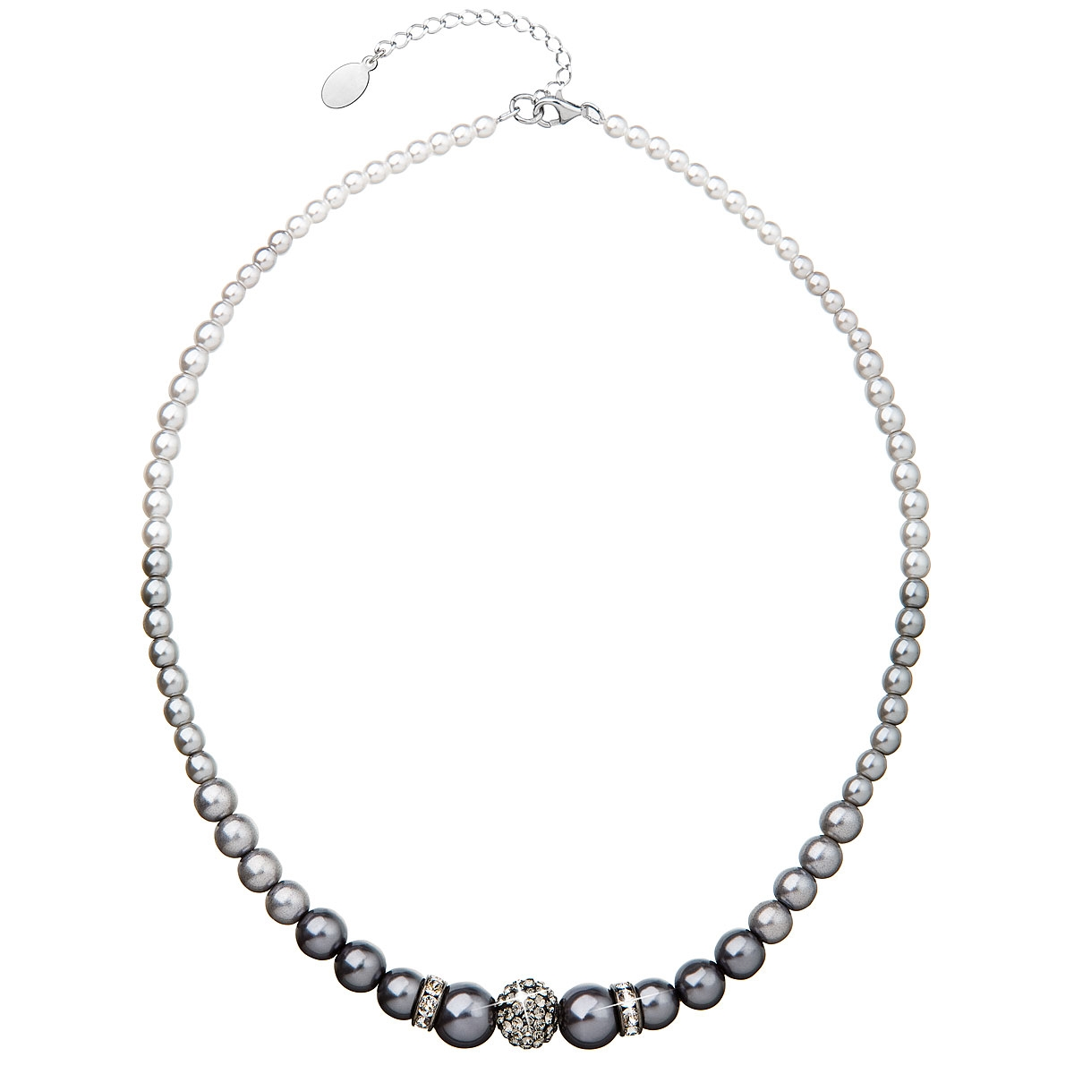 Šedý perlový náhrdelník Crystals from Swarovski® EG4033