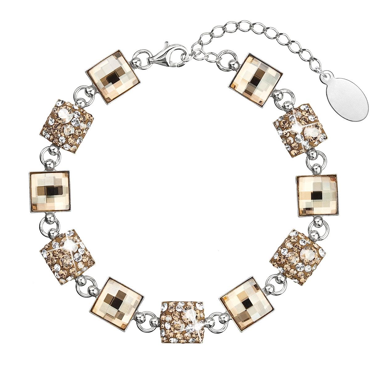 Strieborný náramok s kryštálmi Crystals from Swarovski ®, Gold