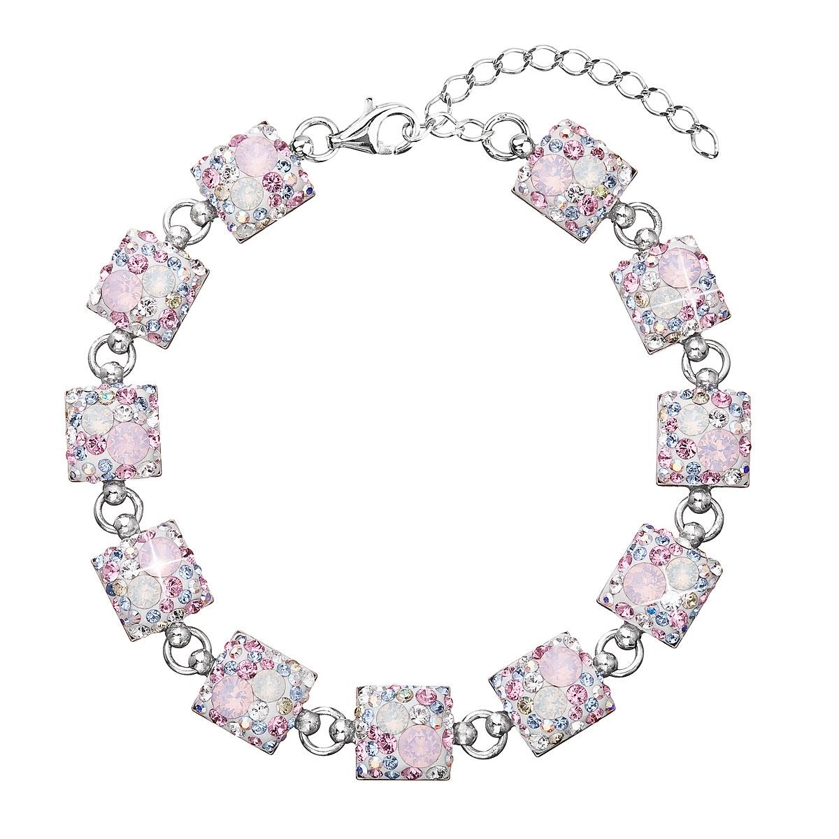 Strieborný náramok s kryštálmi Crystals from Swarovski ®, Magic Rose