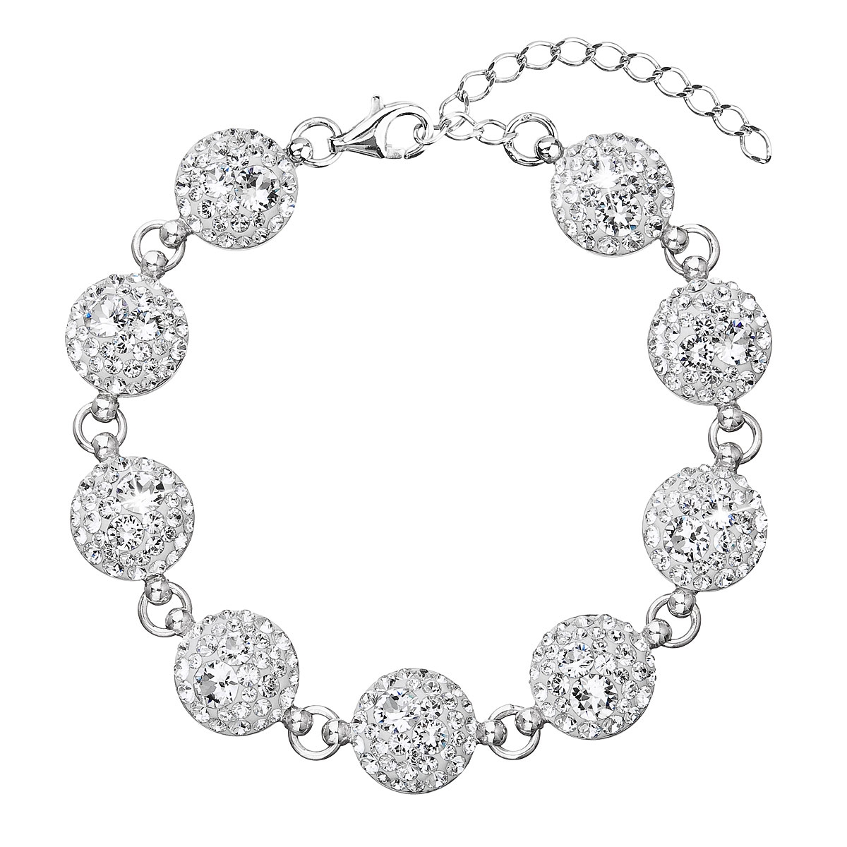 Stříbrný náramek s krystaly Crystals from Swarovski®, Crystal EG7004-CR