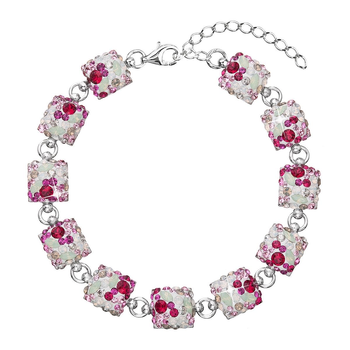 Strieborný náramok s kryštálmi Crystals from Swarovski ®, Sweet Love