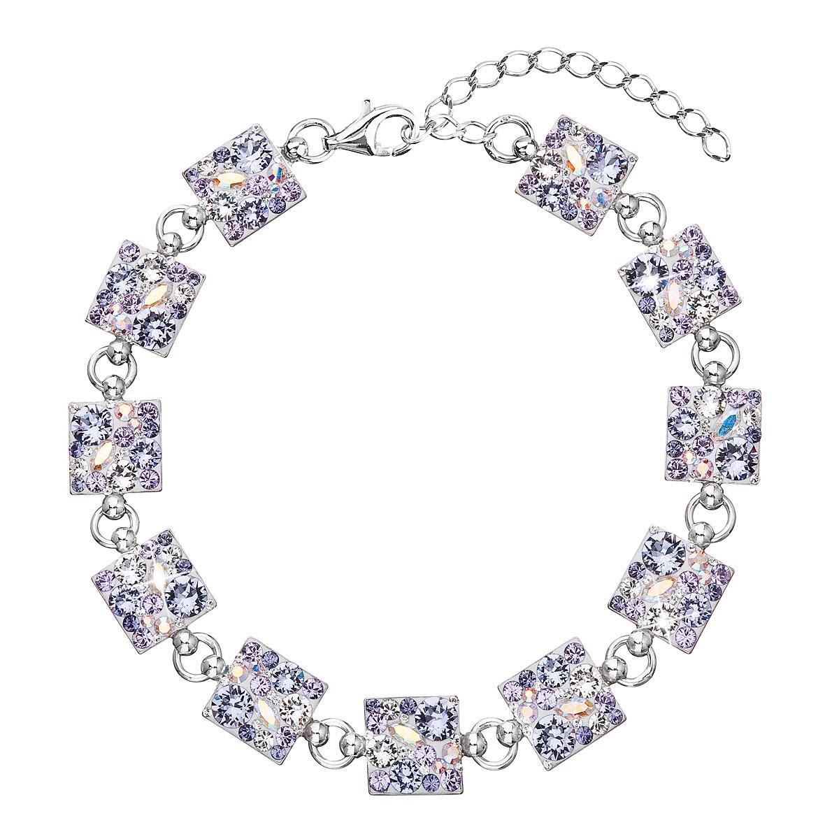 Strieborný náramok s kryštálmi Crystals from Swarovski ®, Violet