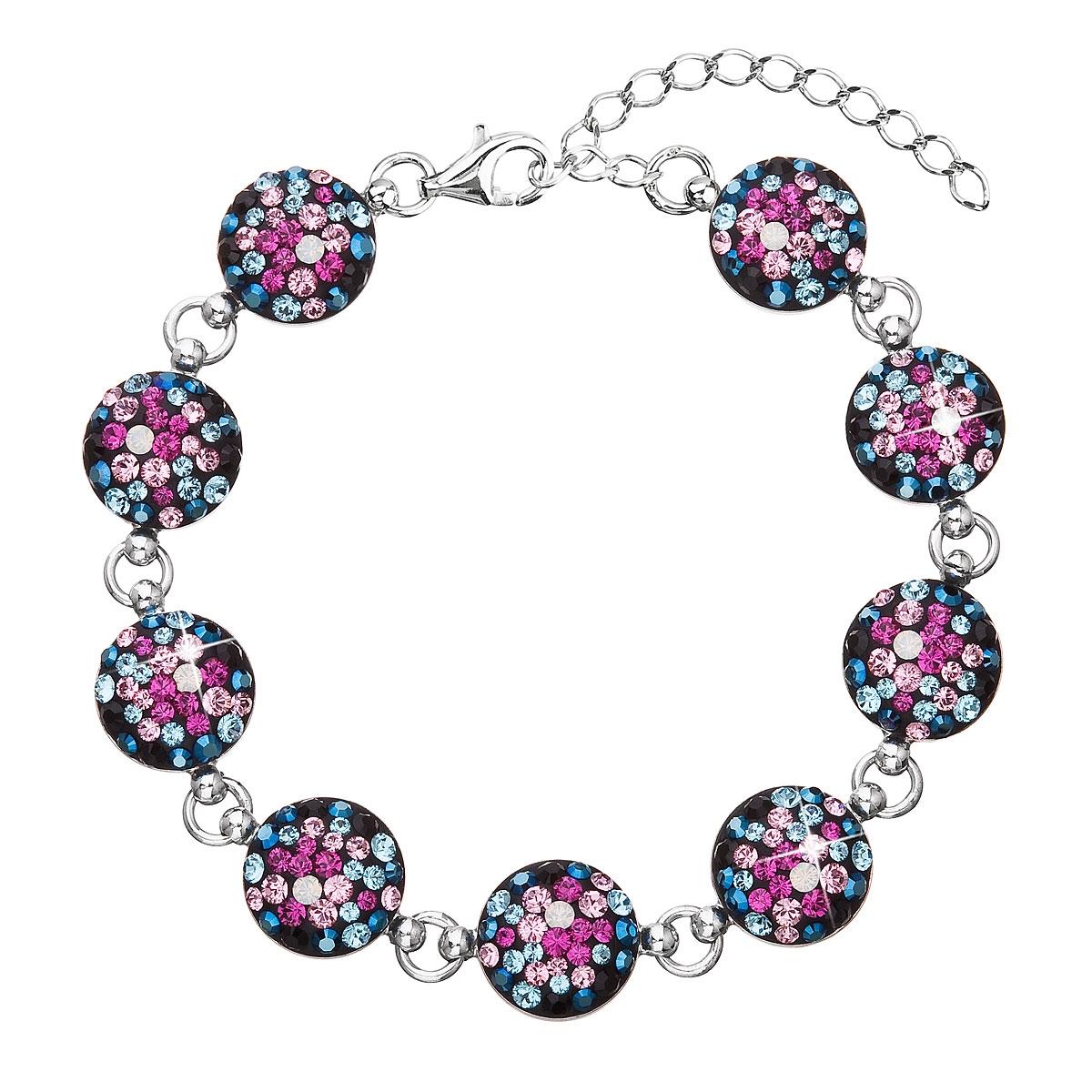Stříbrný náramek s krystaly Crystals from Swarovski® Galaxy EG7004-GX
