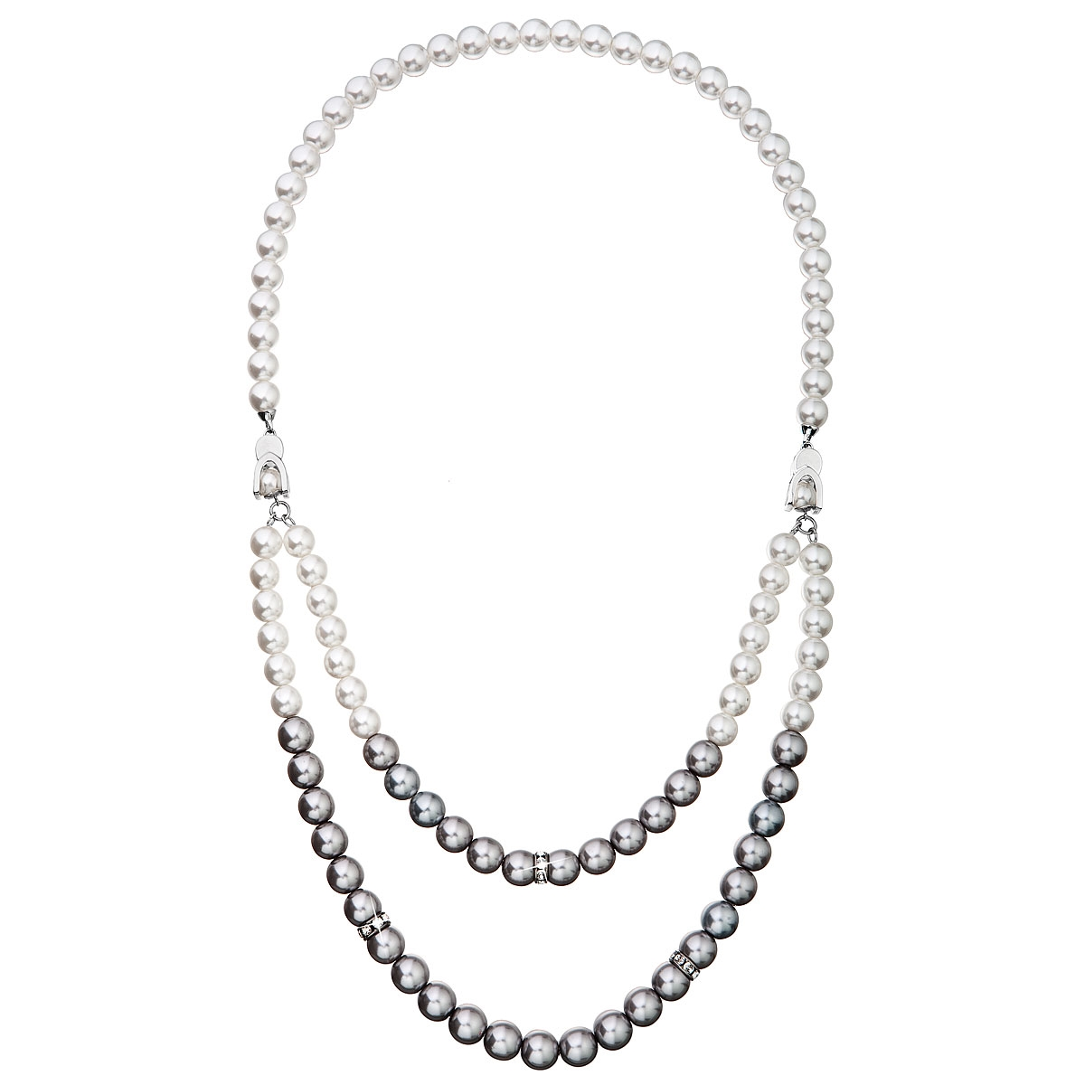 Perlový náhrdelník bielo-šedý